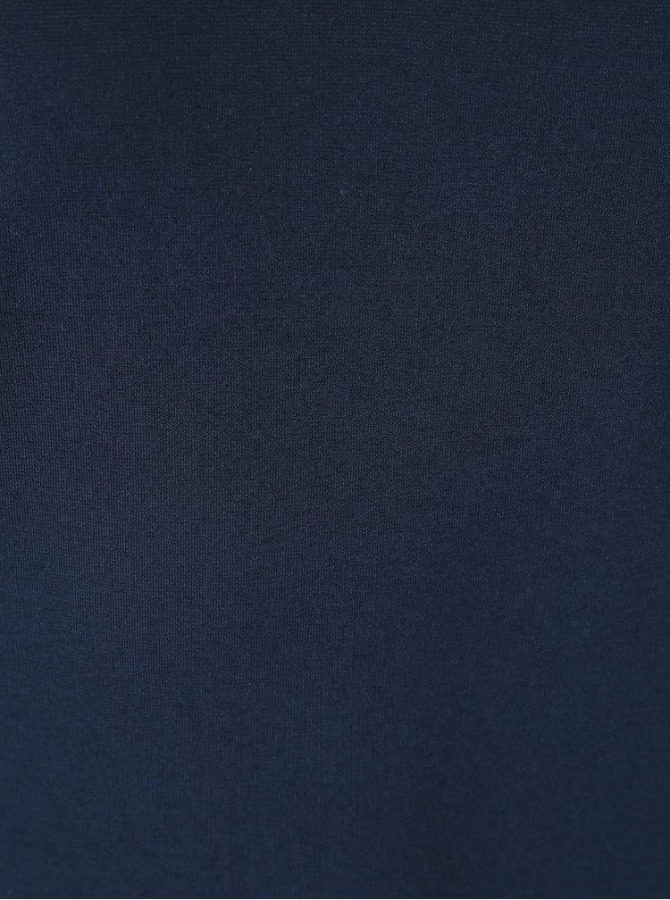 Tmavě modré šaty s véčkovým výstřihem a volány Alchymi Gaspra