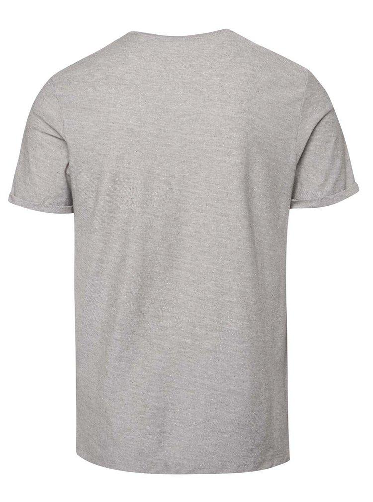 Světle šedé žíhané triko s jemnou strukturou Jack & Jones Raw