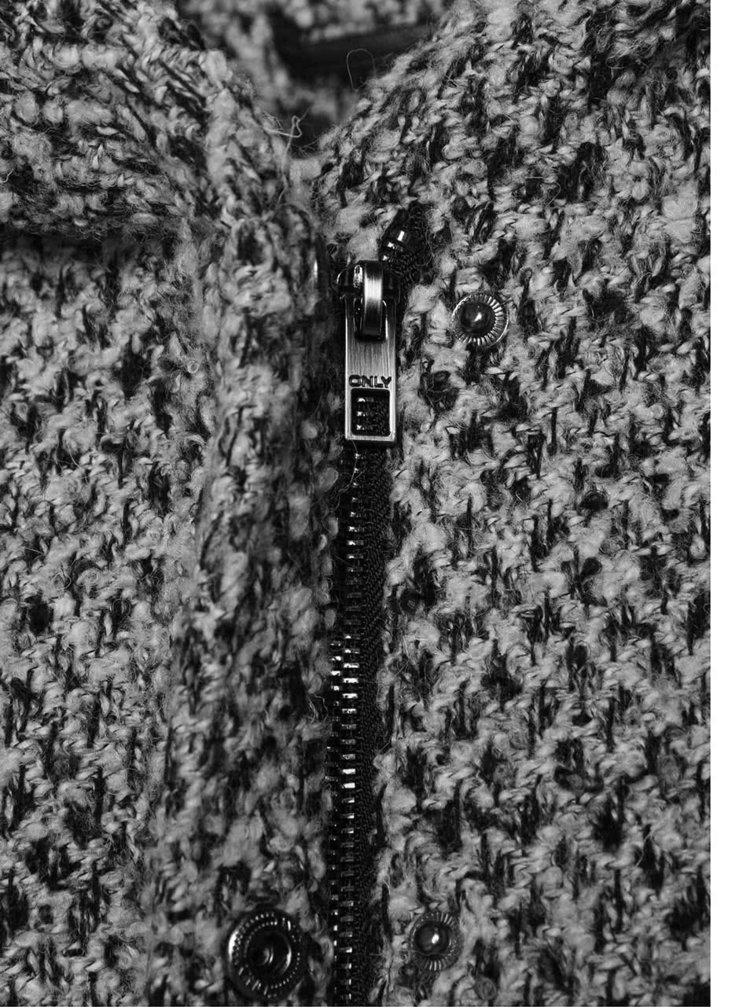 Sivočierny melírovaný kabát s kapucňou ONLY New Indie