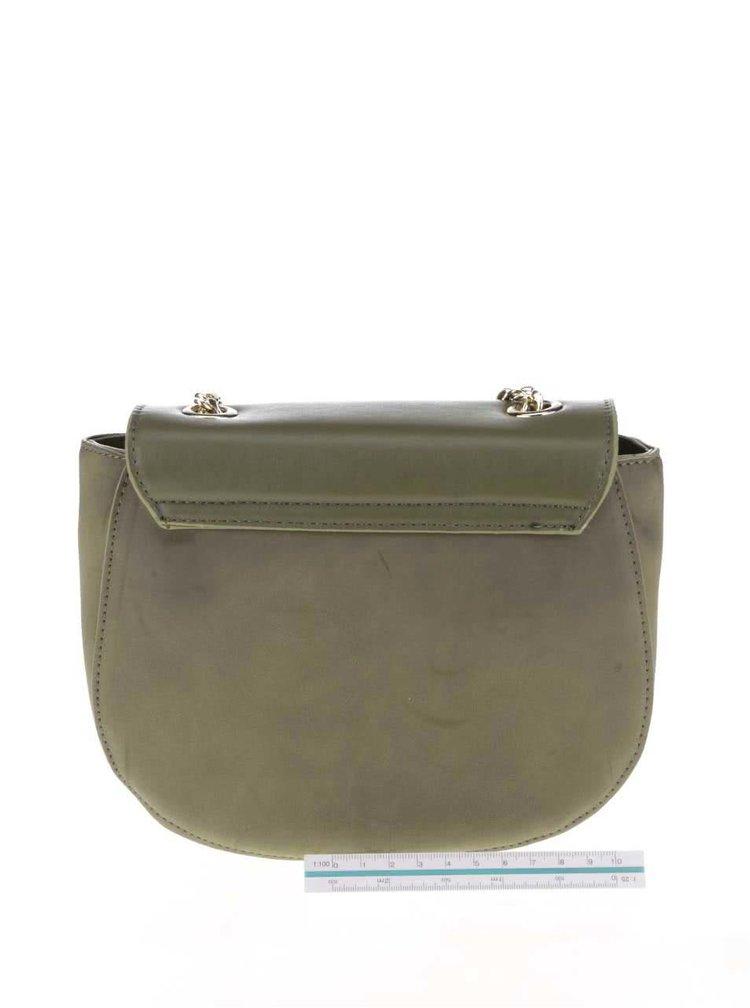 Zeleno-hnedá crossbody kabelka s retiazkou a detailmi v zlatej farbe ONLY Luna