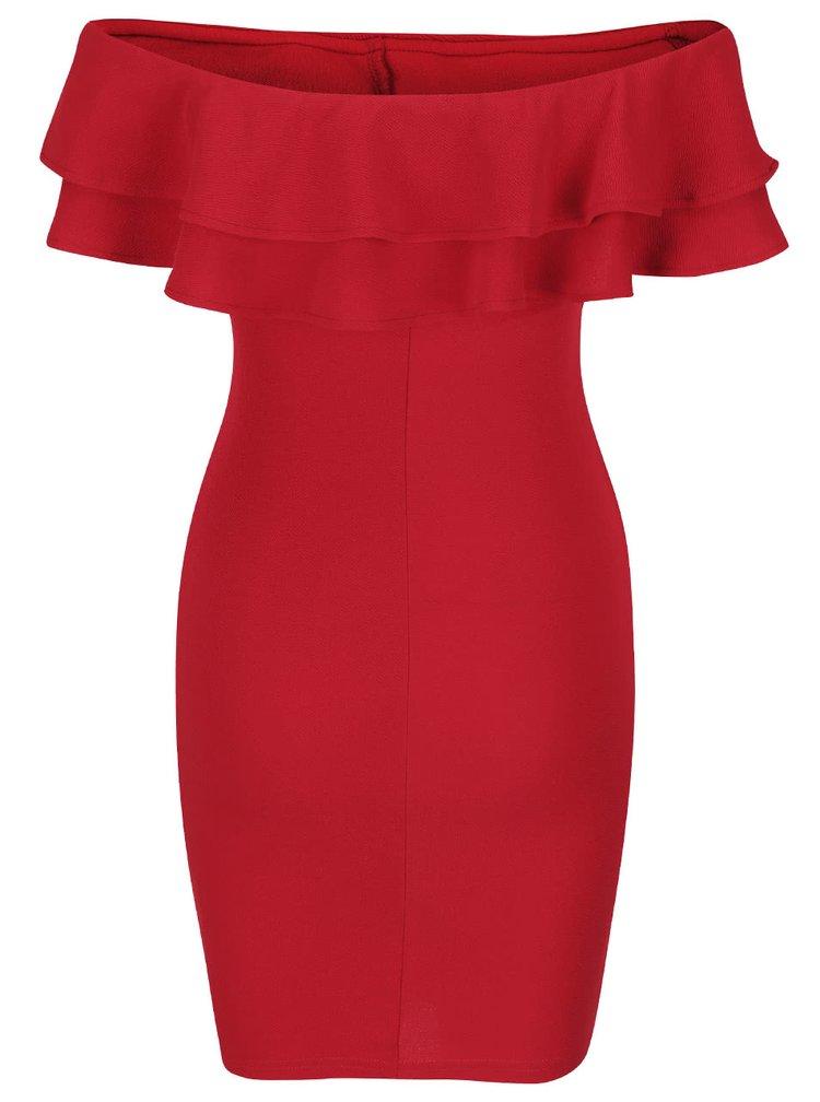 Červené šaty s volánom AX Paris