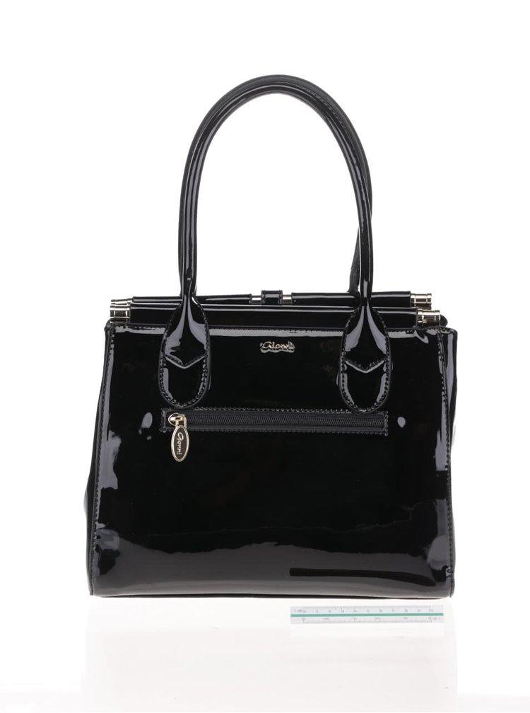 Černá lesklá kabelka s detaily ve zlaté barvě Gionni Lineisy