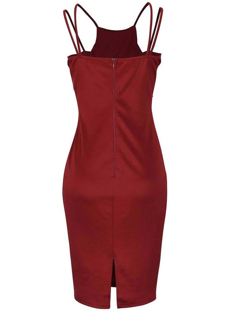 Vínové šaty s krajkovým vzorem AX Paris