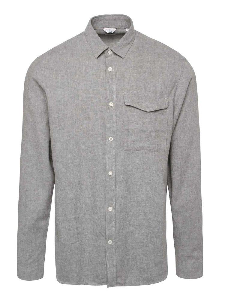 Svetlosivá košeľa s vreckom Jack & Jones Rossy