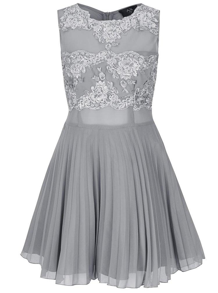 Šedé šaty s krajkou a plisovanou sukní AX Paris