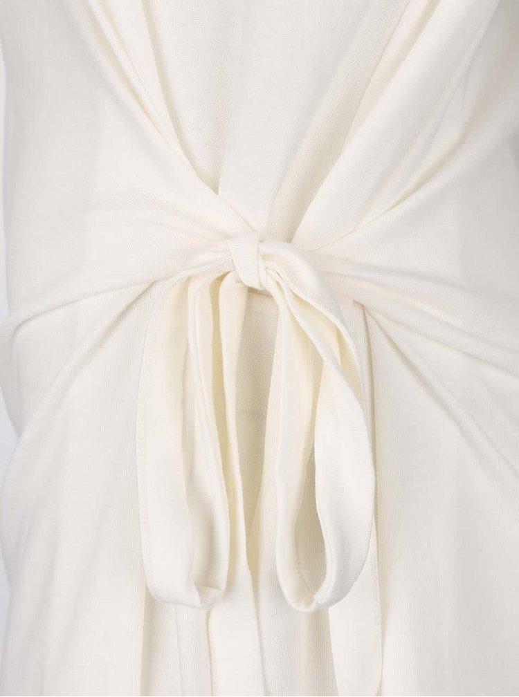 Krémové voľnejšie tričko s viazaním na boku gsus