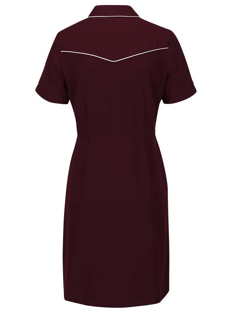 Vínové šaty s golierom a krémovým lemovaním Dorothy Perkins