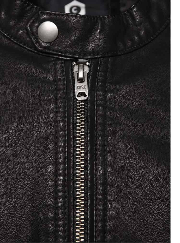 Černá koženková bunda s detaily Jack & Jones Steel