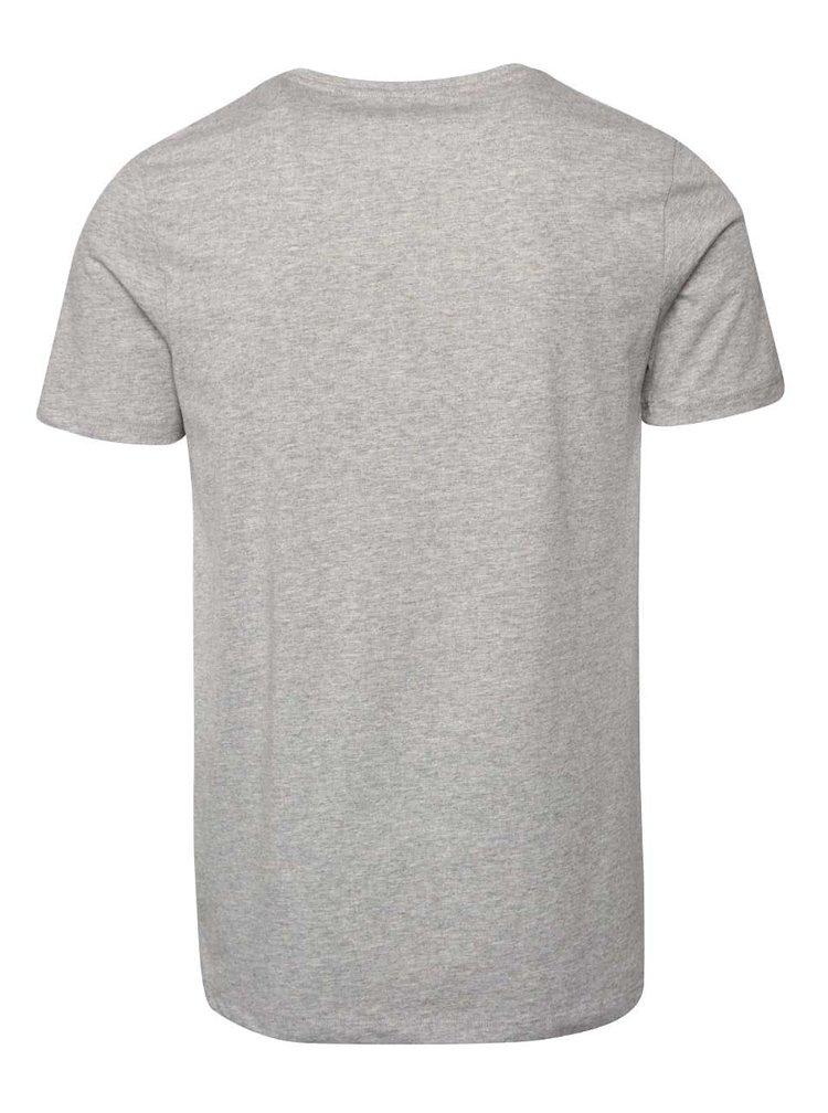 Světle šedé triko s potiskem Jack & Jones Tap