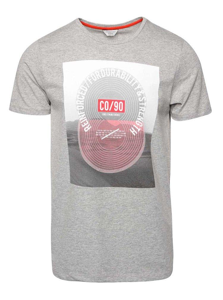 Svetlosivé tričko s potlačou Jack & Jones Tap