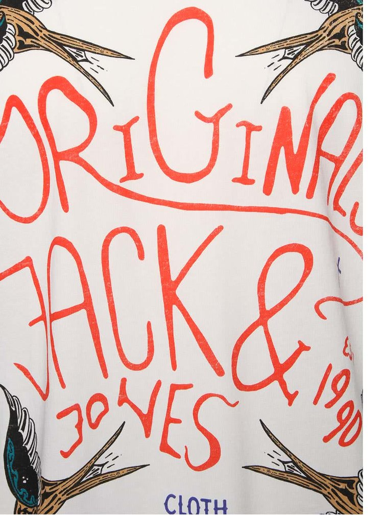 Krémové triko s potiskem ptáků Jack & Jones Seikei