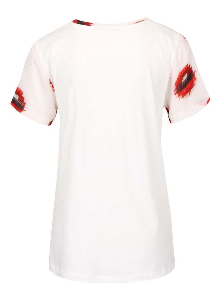 Krémové průsvitné tričko s potiskem rtů gsus