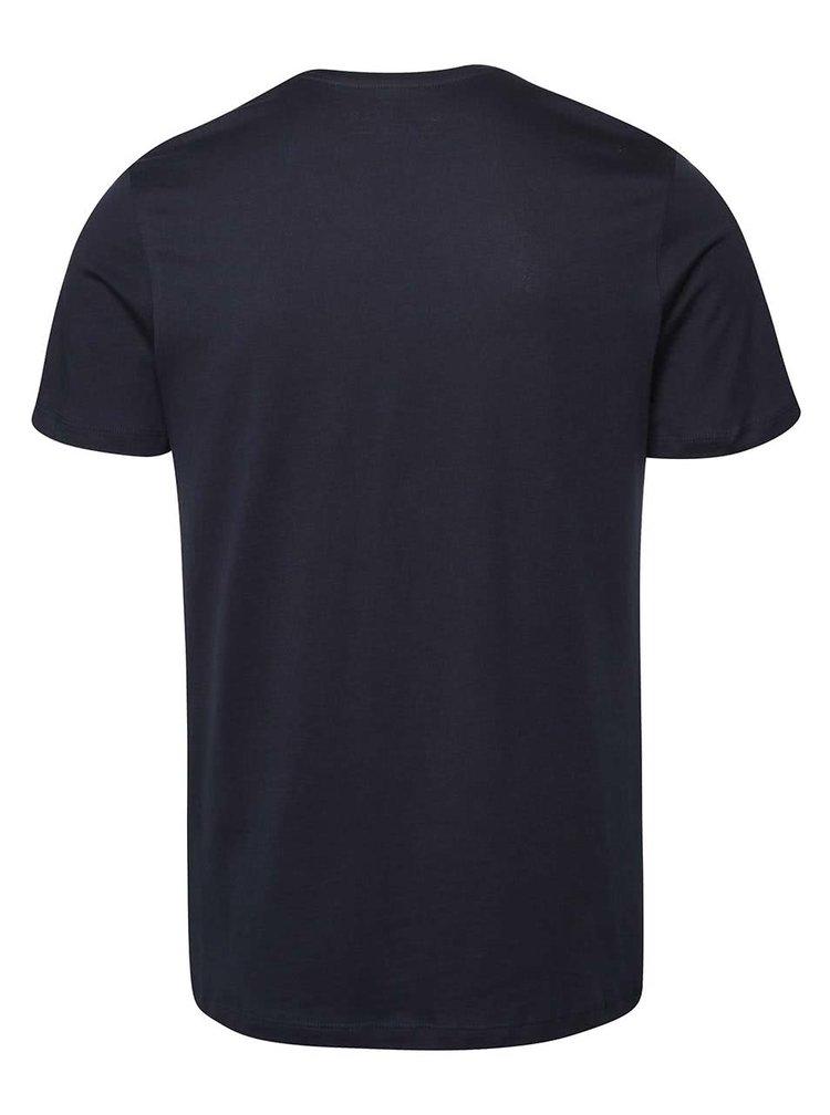 Tricou albastru inchis Jack & Jones Class din bumbac cu imprimeu