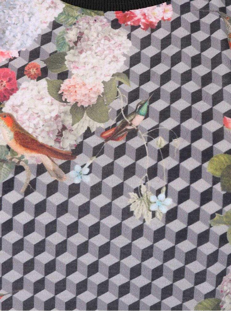 Rochie gri maxi gsus cu print floral