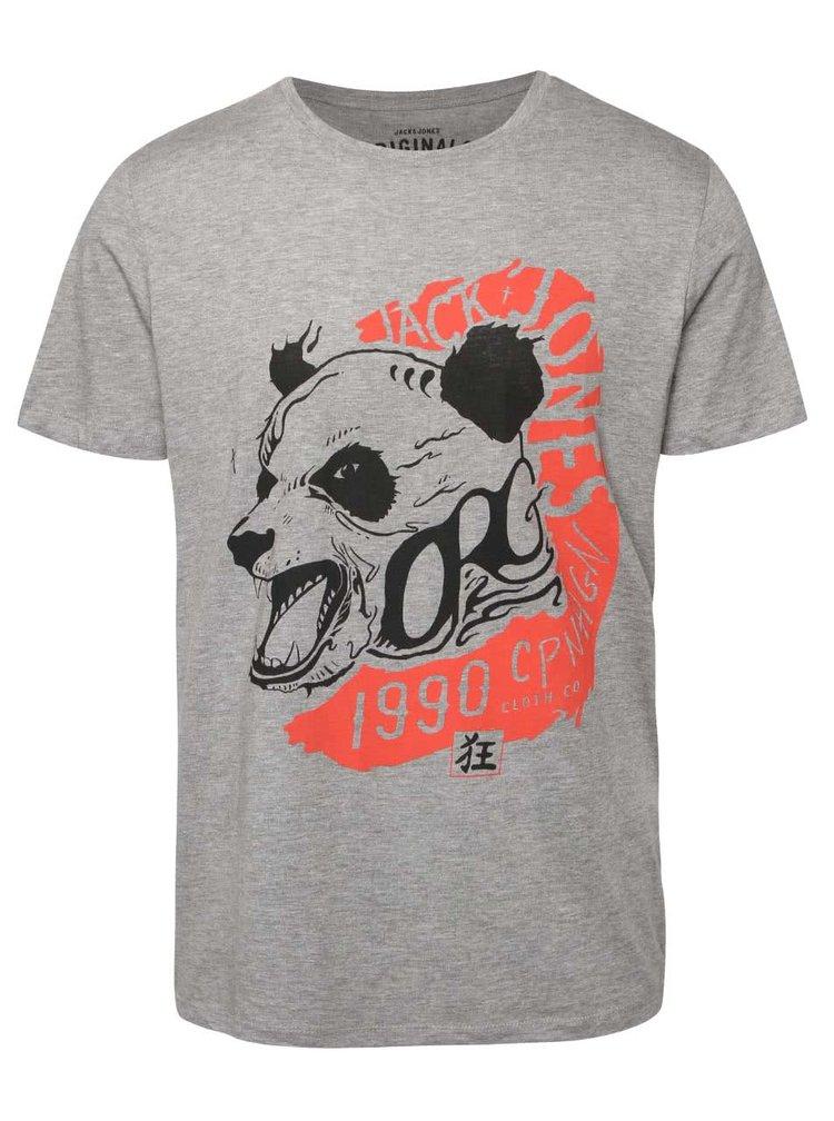 Svetlosivé tričko s potlačou pandy Jack & Jones Seikei