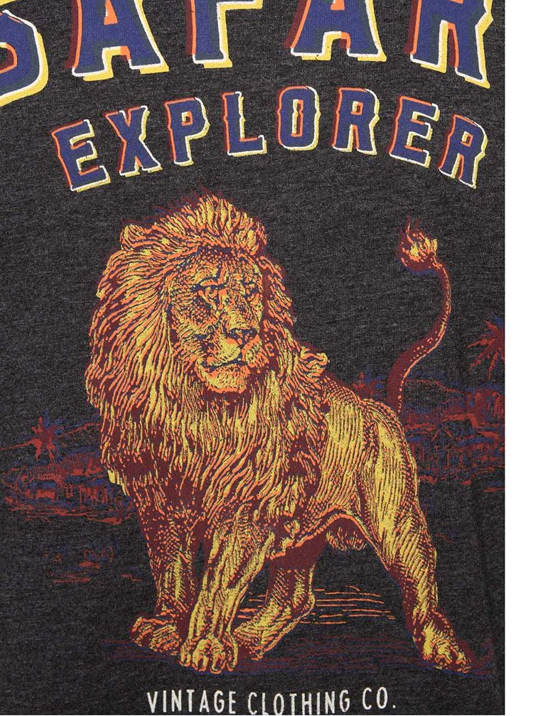 Tmavosivé tričko s potlačou Jack & Jones African