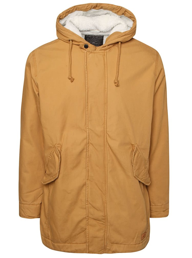 Horčicový kabát s kapucňou Jack & Jones Benson