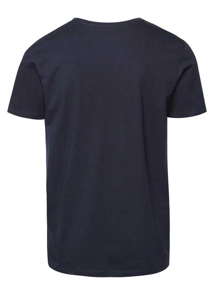 Tmavě modré triko potiskem Jack & Jones Scater