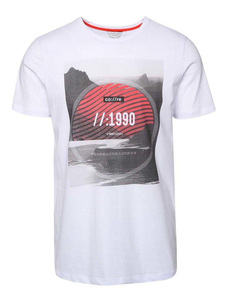 Bílé triko s celopotiskem Jack & Jones Tap