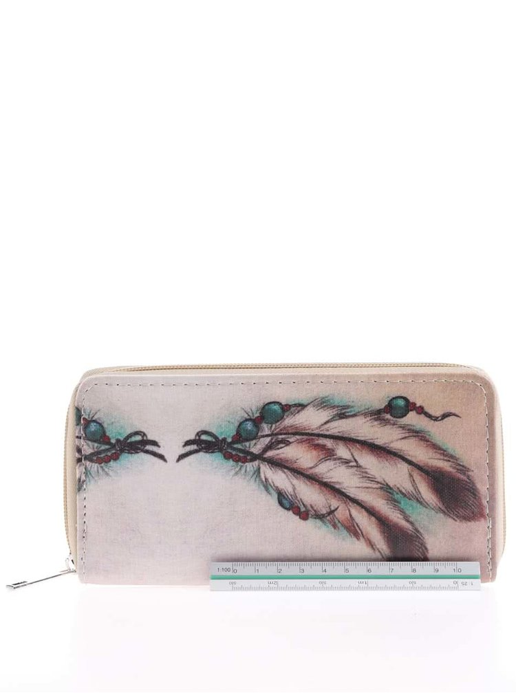 Krémová peněženka s motivem pírek Haily´s Dream