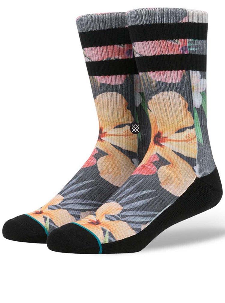 Čierno-sivé pánske ponožky s kvetinovým motívom Stance Lynx