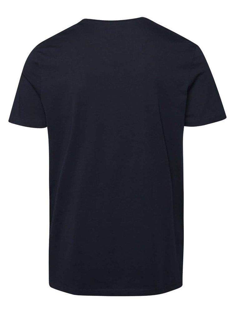 Tmavě modré triko s potiskem geparda Jack & Jones Seikei