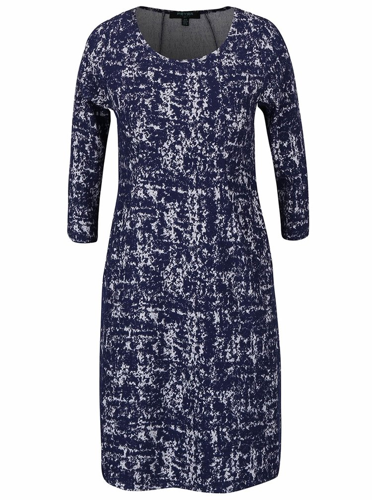 Tmavomodré vzorované strečové šaty s vreckami Fever London Logan