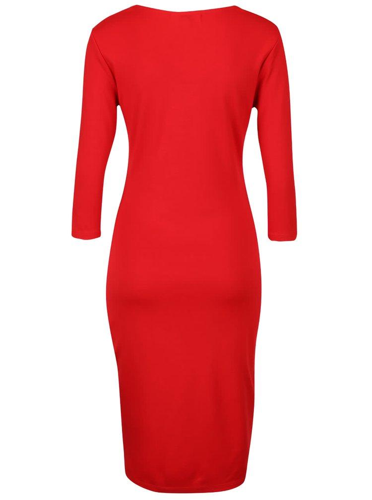 Červené přiléhavé šaty s 3/4 rukávy Fever London Gretta
