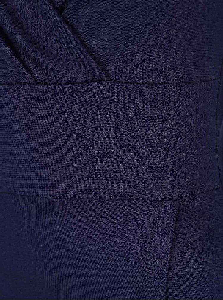 Tmavomodré prekladané šaty Fever London Andrea
