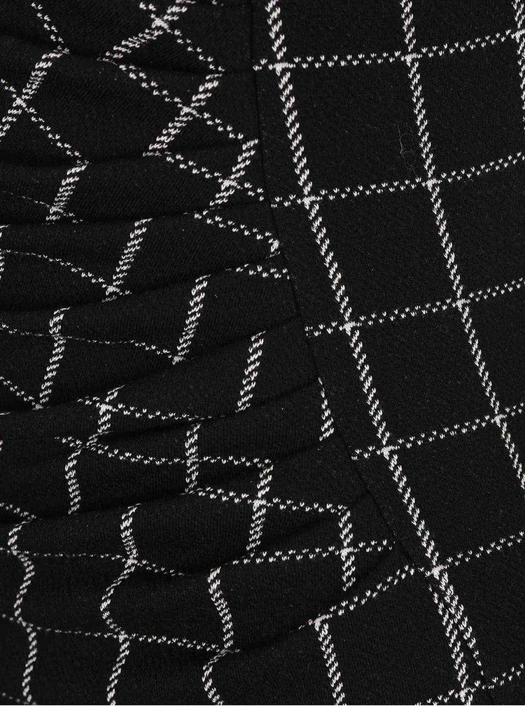 Čierne kockované šaty s riesením v páse Fever London Highlands