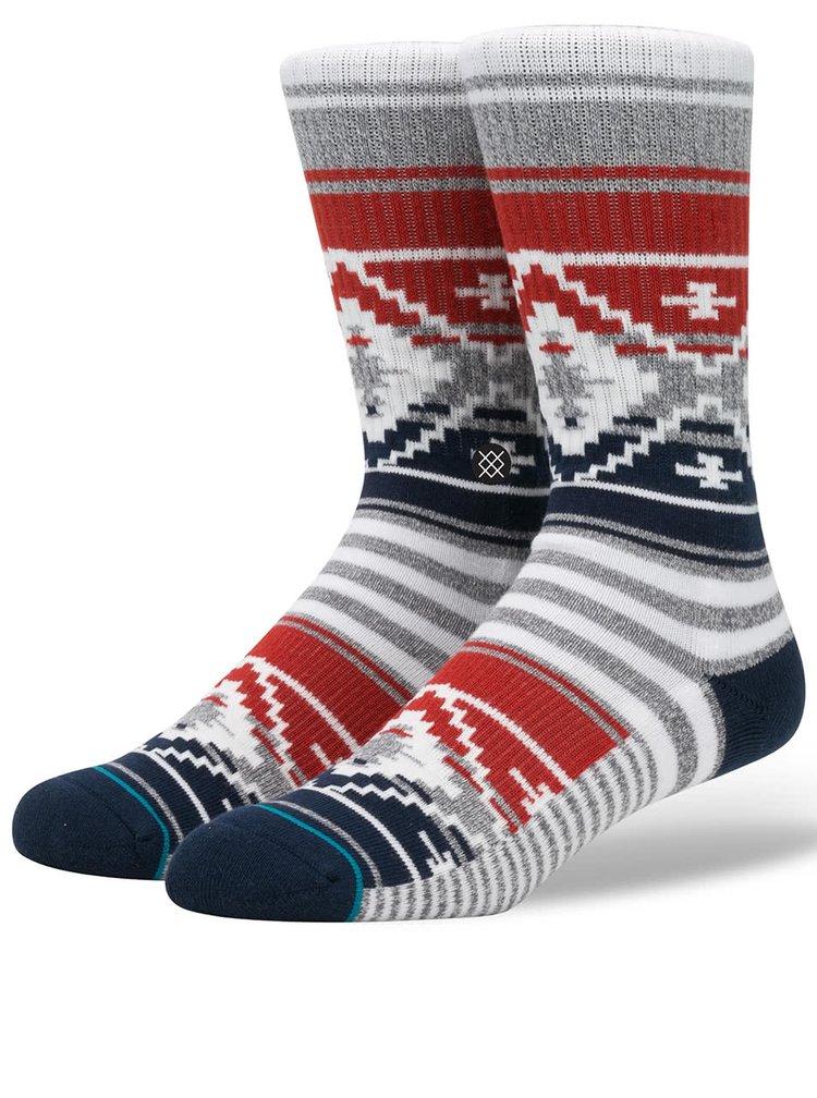 Modro-šedé pánské ponožky s červenými pruhy Stance Salem