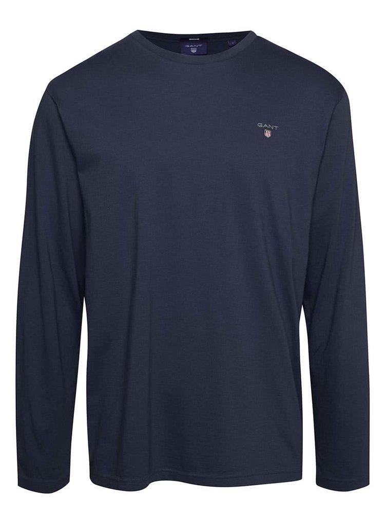 Tmavě modré pánské triko s dlouhým rukávem GANT
