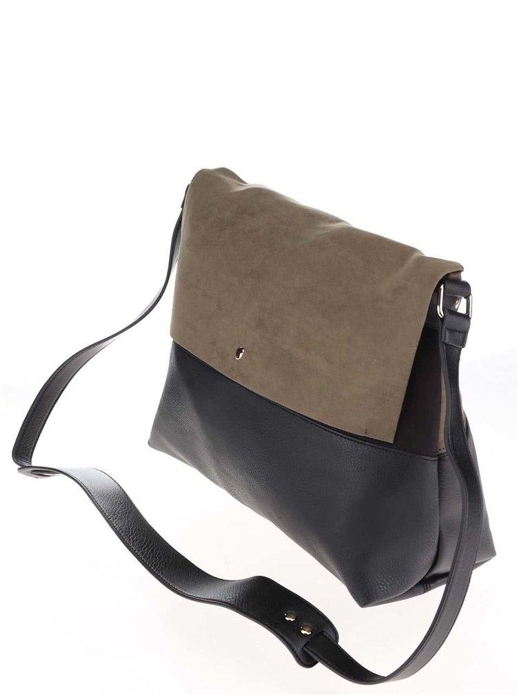 Zeleno-čierna kabelka s klopou v semišovej úprave Dorothy Perkins