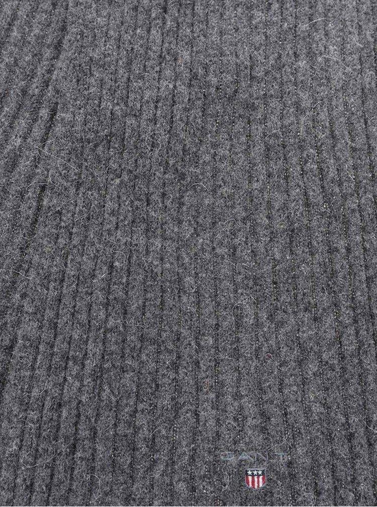 Tmavosivý pánsky vlnený šál GANT