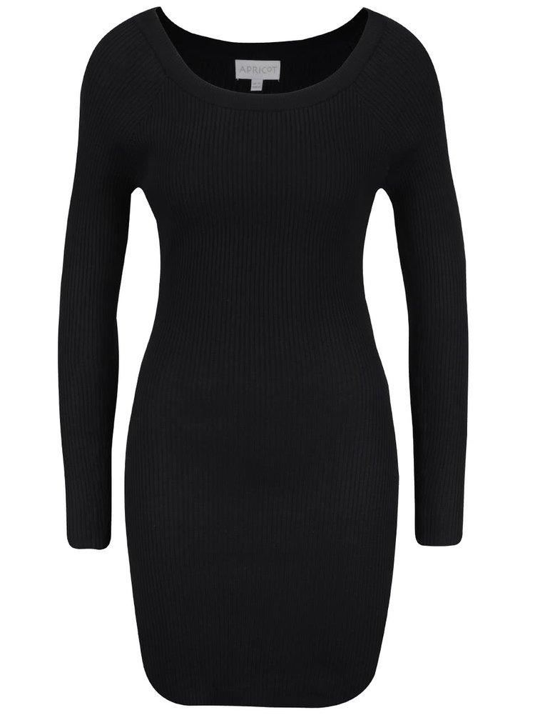 Černé žebrované šaty s dlouhým rukávem Apricot