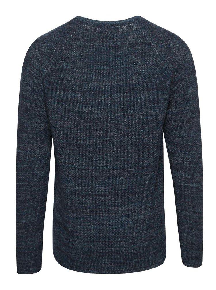 Tmavě modrý pánský žíhaný svetr RVLT