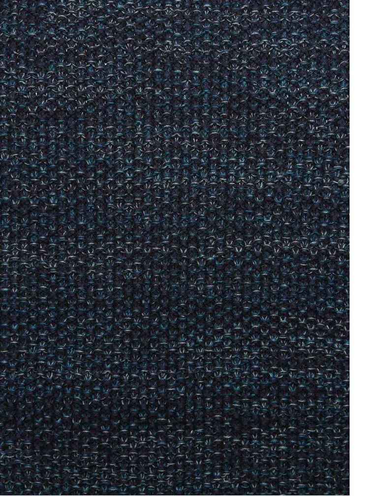 Tmavomodrý pánsky melírovaný sveter RVLT