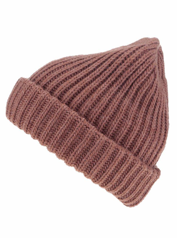 Căciulă maro Pieces Poulula tricotată