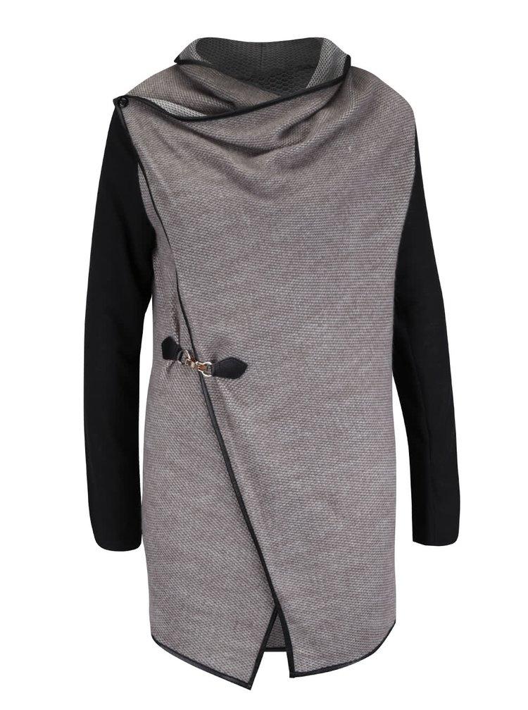 Krémovo-hnedý kardigan s čiernymi rukávmi Apricot