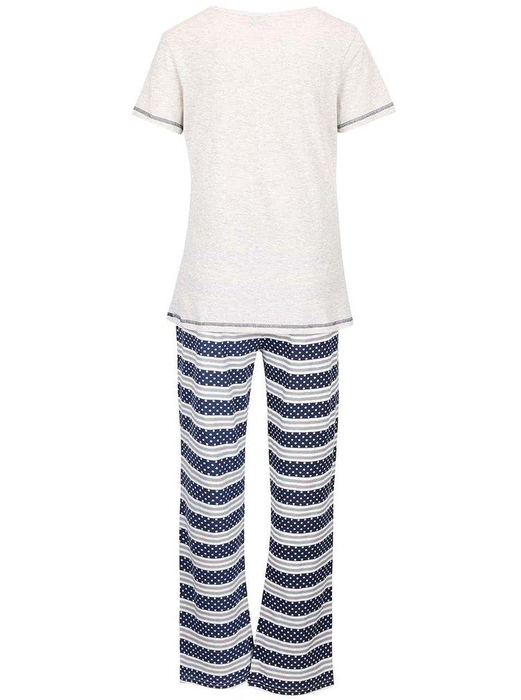 Modro-krémové žíhané pyžamo s potiskem Dorothy Perkins