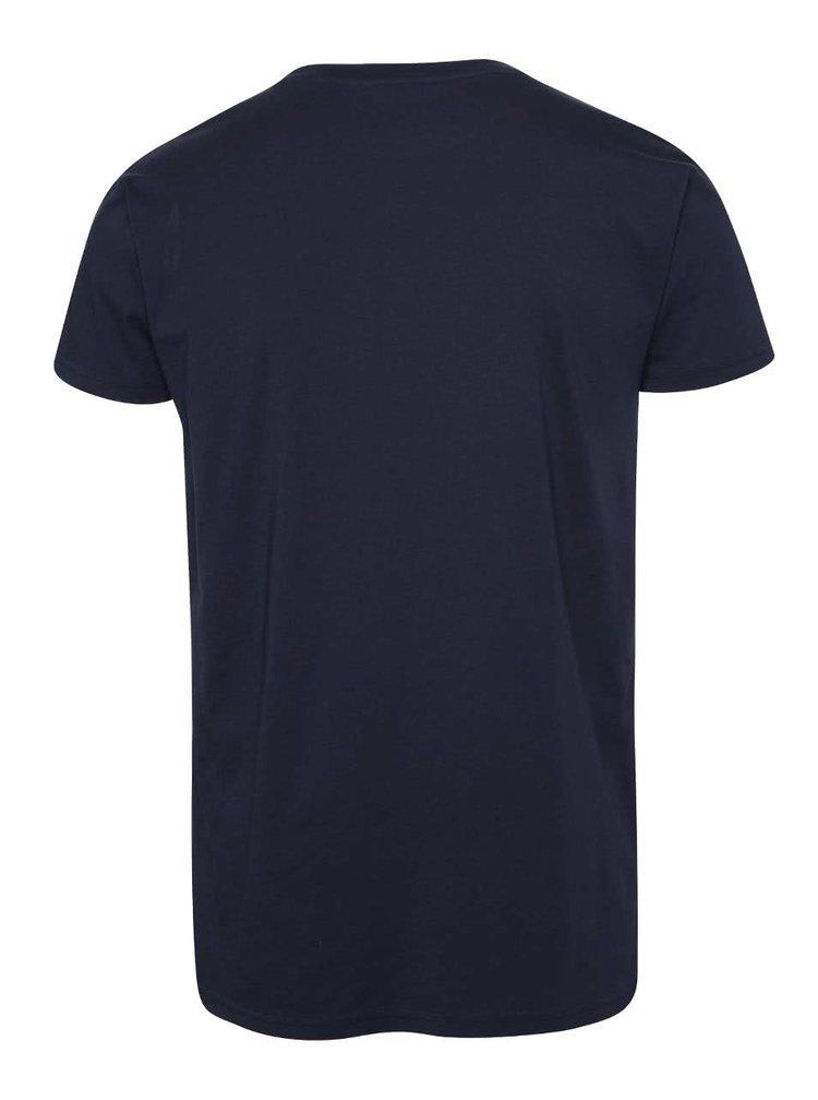 Tmavě modré pánské triko s potiskem RVLT