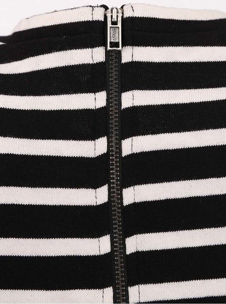 Rochie negru cu alb ONLY Mettis in dungi