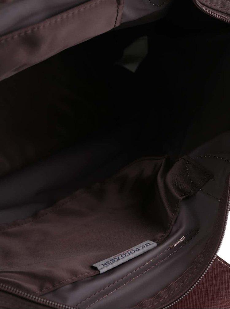 Hnědá větší kabelka do ruky s odnímatelným popruhem U.S. Polo Assn
