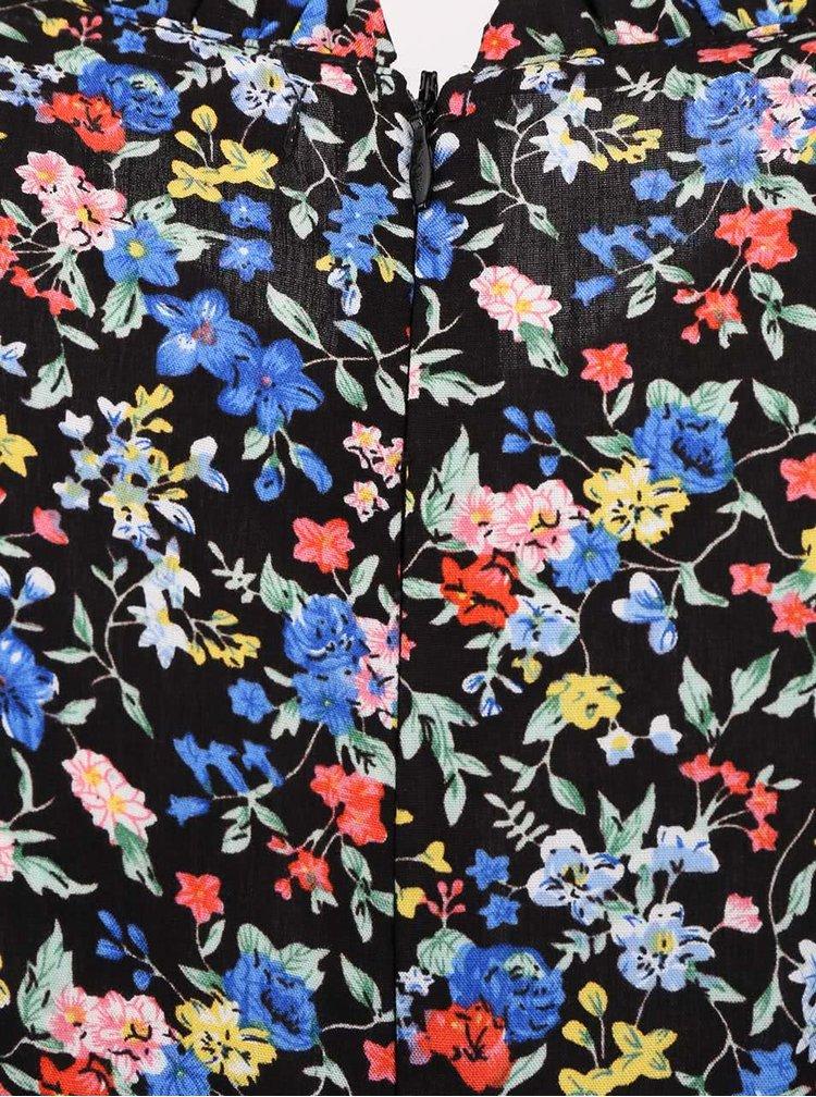 Rochie neagră Trollied Dolly Frilly cu imprimeu floral