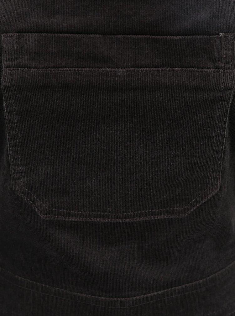 Tmavě šedé manšestrové šaty s laclem a kapsou Dorothy Perkins