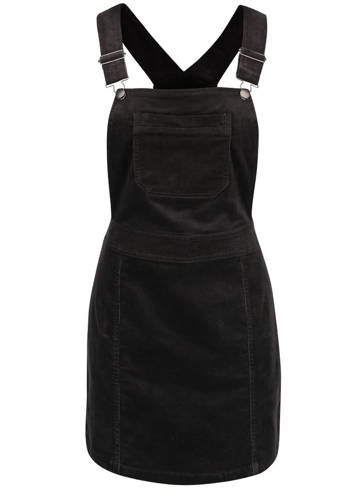 Tmavosivé menčestrové šaty s trakmi a vreckom Dorothy Perkins