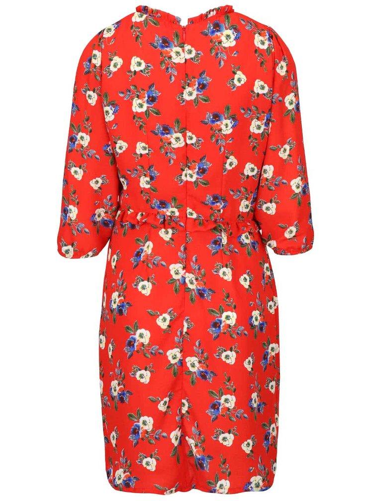Červené šaty s volánky a 3/4 rukávem Trollied Dolly Frilly