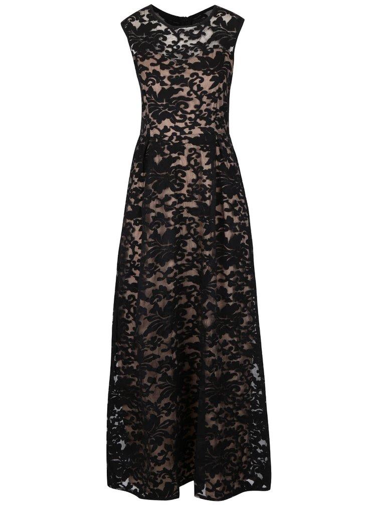 Krémovo-černé dlouhé vzorované šaty Mela London