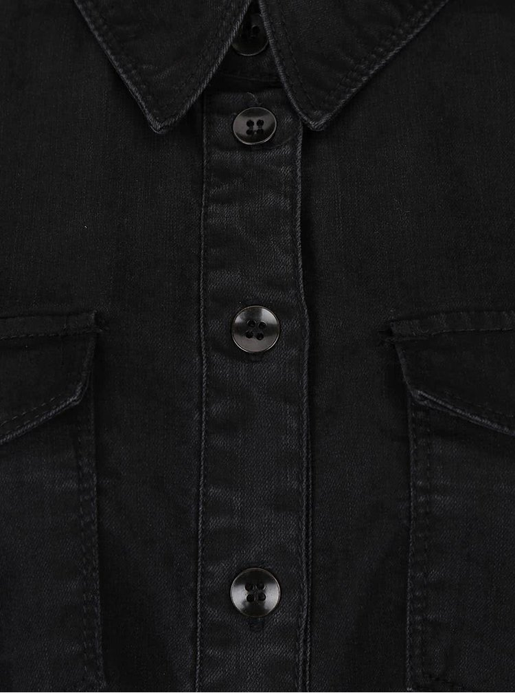 Rochie tip cămașă neagră ONLY Lonni din denim