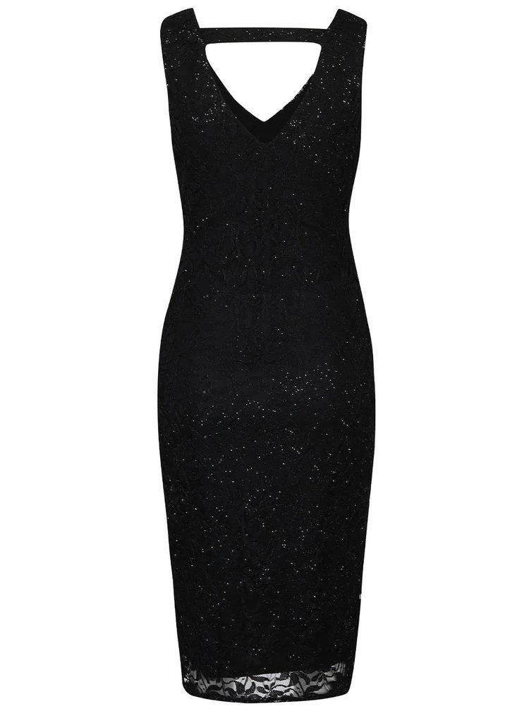 Čierne čipkované šaty s trblietavými detailmi Mela London